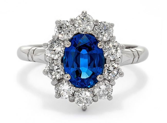 Appleby Platinum Ring Blue Sapphire Diamond Starburst Photograph by Norton Photography and Retouching