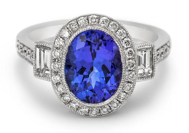 Oval Blue Sapphire and Diamond Platinum Ring Photograph by Norton Photography and Retouching