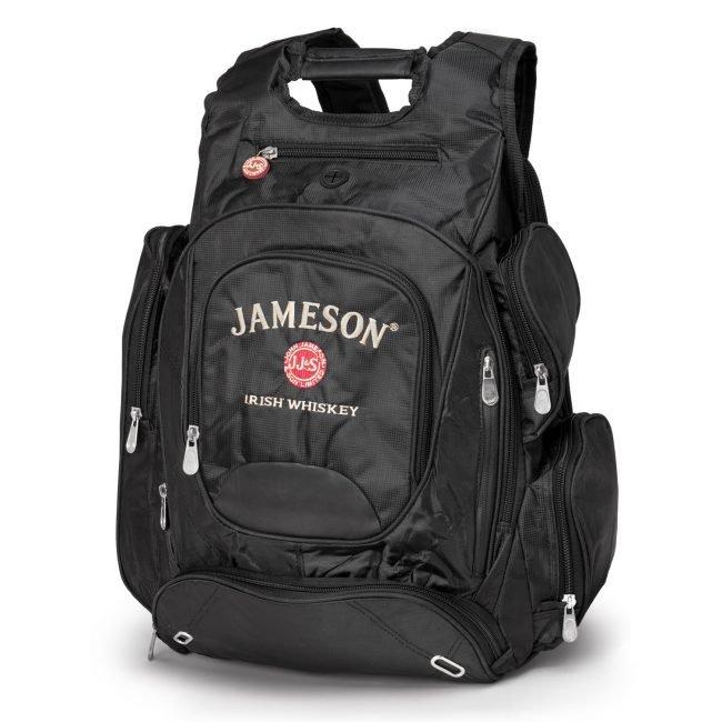 Black Backpack on Pure White Background with Jameson Irish Whiskey Logo