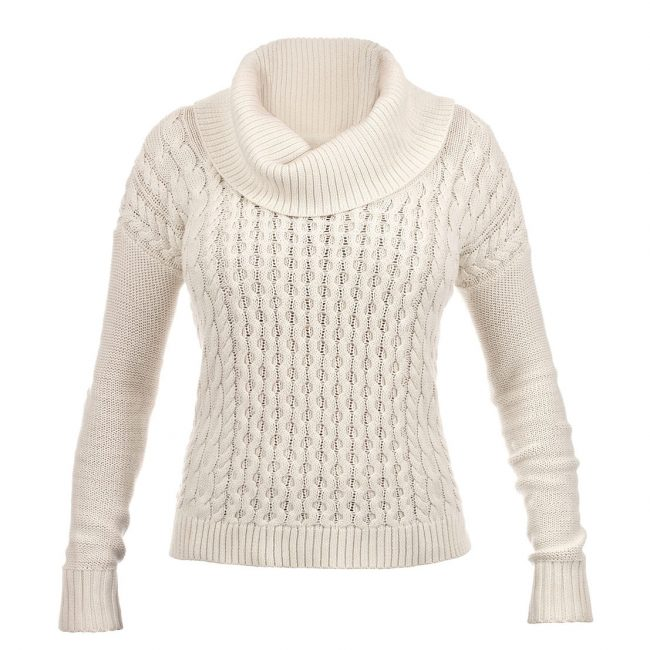 Product Photograph of White Knit Sweater on Invisible Mannequin