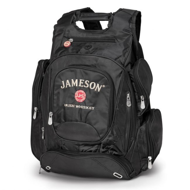 Product Photograph of Black Backpack on Pure White Background with Jameson Irish Whiskey Logo