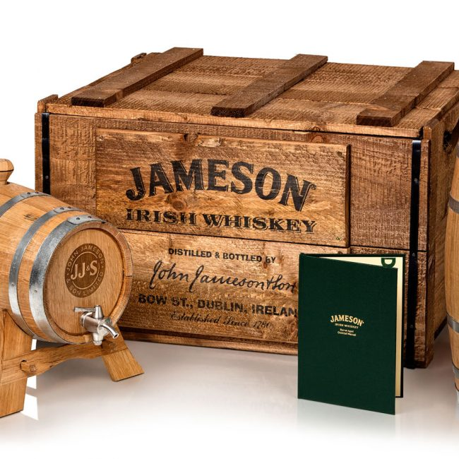 Product Photograph of Jameson Irish Whiskey Timber Kegs and Green Book