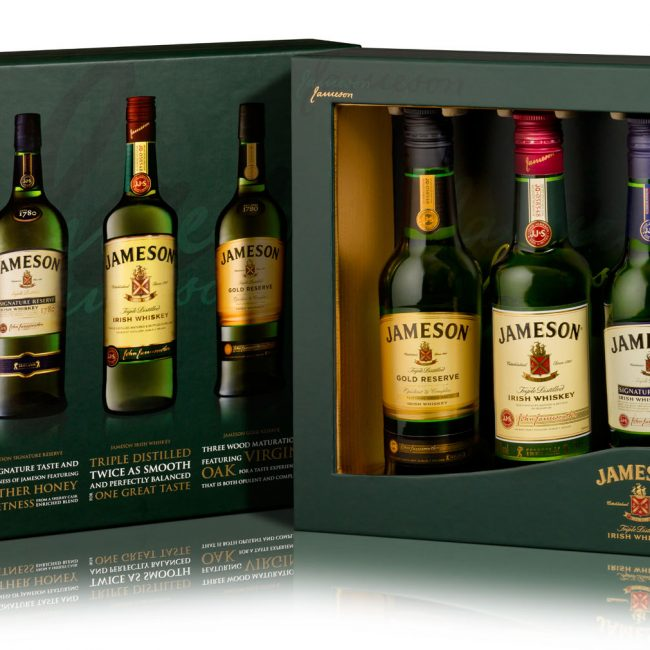 Product Photograph of Jameson Whiskey Three Bottle Gift Box Photograph by Norton Photography and Retouching