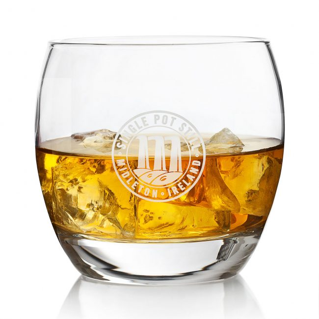 Product Photograph of Whiskey Glass Tumbler with logo for SIngle Pot Still Midleton Ireland by Norton Photography