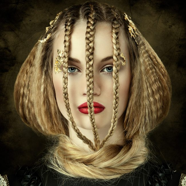 Avant Garde Blonde Hair Plaited at Front and Wrapped Around Neck